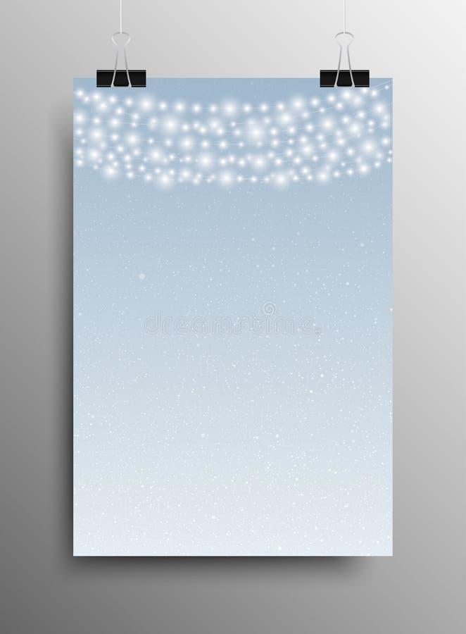 Neve verticale Garland Christmas New Year del manifesto illustrazione di stock