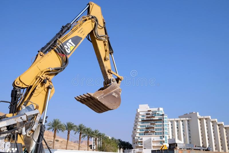 Work to strengthen the shore on the Dead Sea stock images