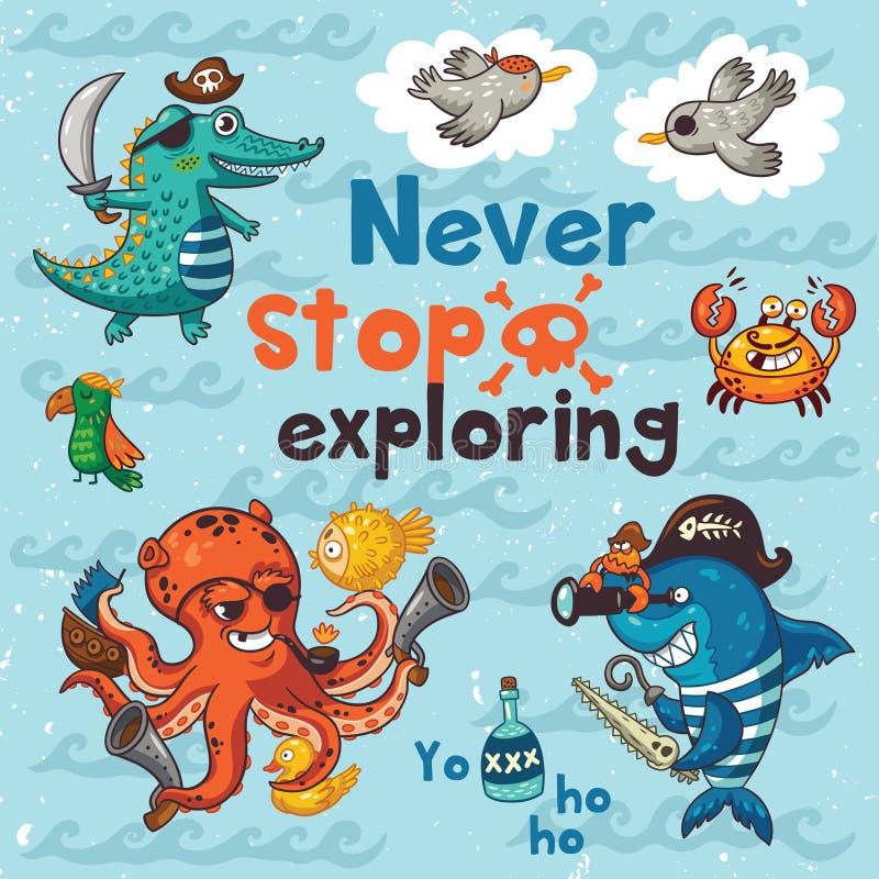 Neveeinde het onderzoeken Piraatillustratie met krokodil, octopus, haai stock illustratie