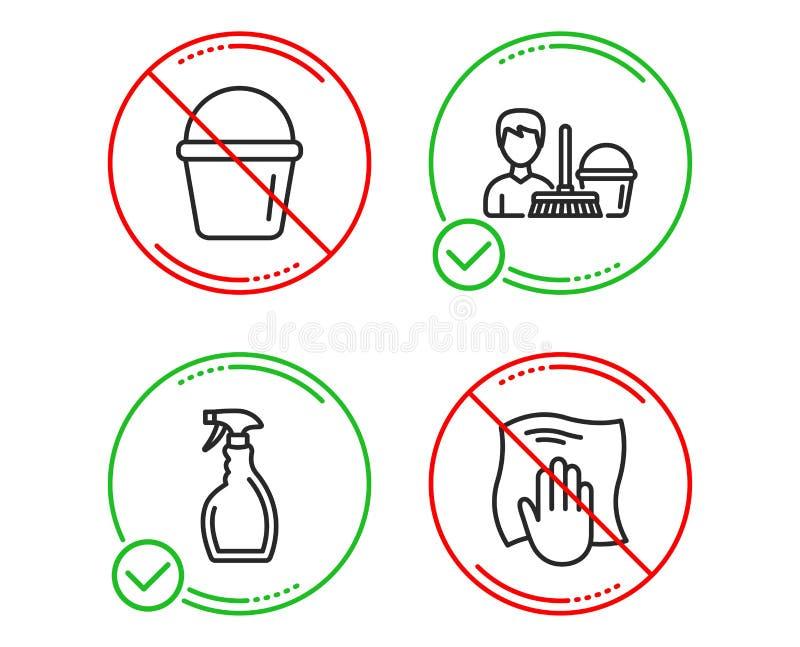 Nevel, de Schoonmakende dienst en geplaatste Emmerpictogrammen Het teken van de wasdoek Vector stock illustratie