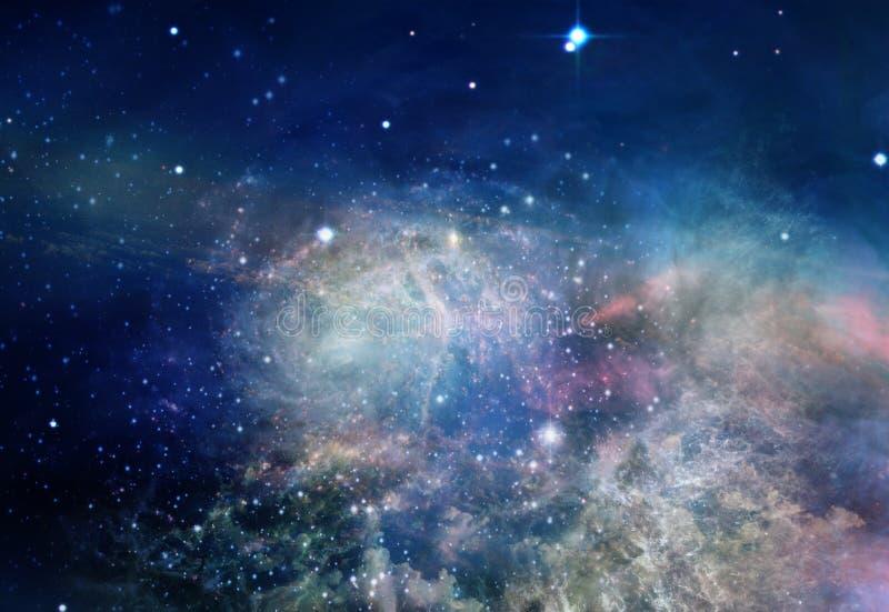 Nevel en sterren in ruimte stock illustratie