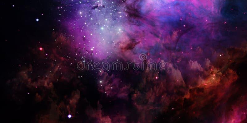 Nevel en sterren in ruimte royalty-vrije illustratie