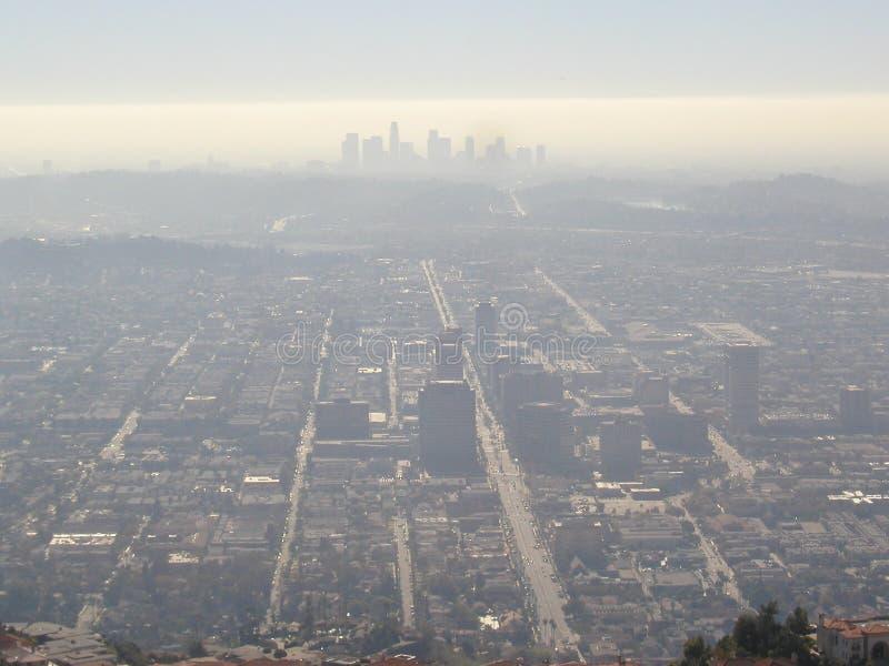 Nevel over de stad van Los Angeles stock foto
