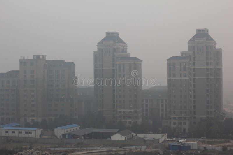 Nevel van de luchtvervuiling van China stock afbeelding