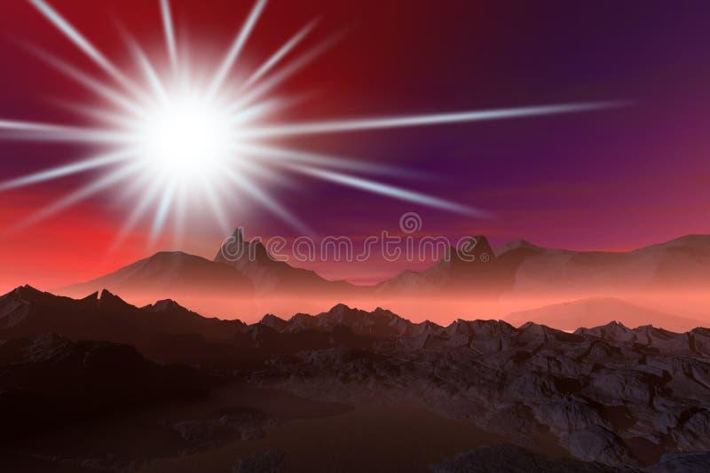 Nevelig de nachtlandschap van de nacht vector illustratie
