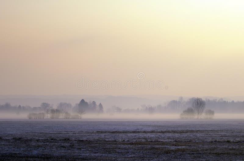 Nevelig leg landschap vast royalty-vrije stock afbeelding