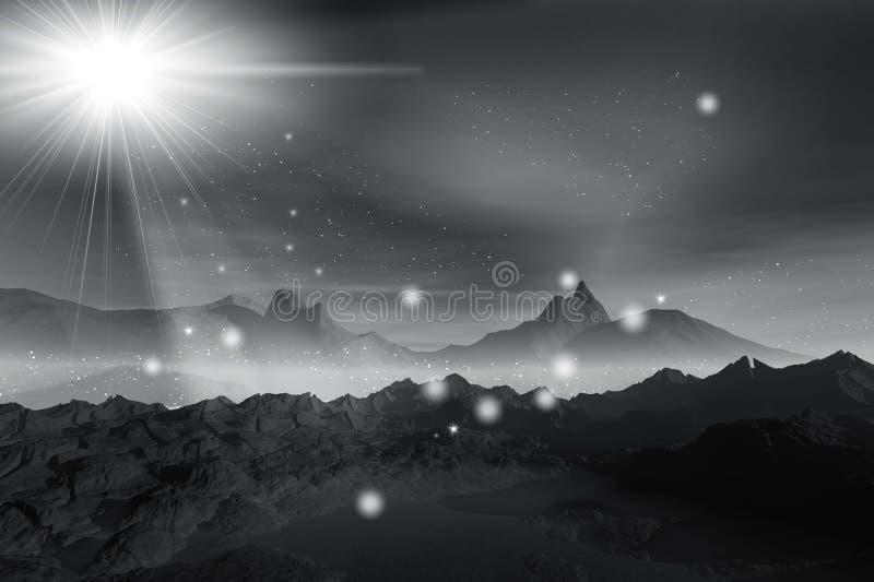 Nevelig licht in nacht stock illustratie