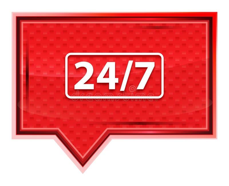 24/7 nevelig pictogram nam roze bannerknoop toe vector illustratie