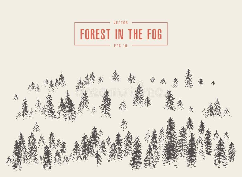 Nevelige bos de bergvector getrokken schets van de mistpijnboom royalty-vrije illustratie