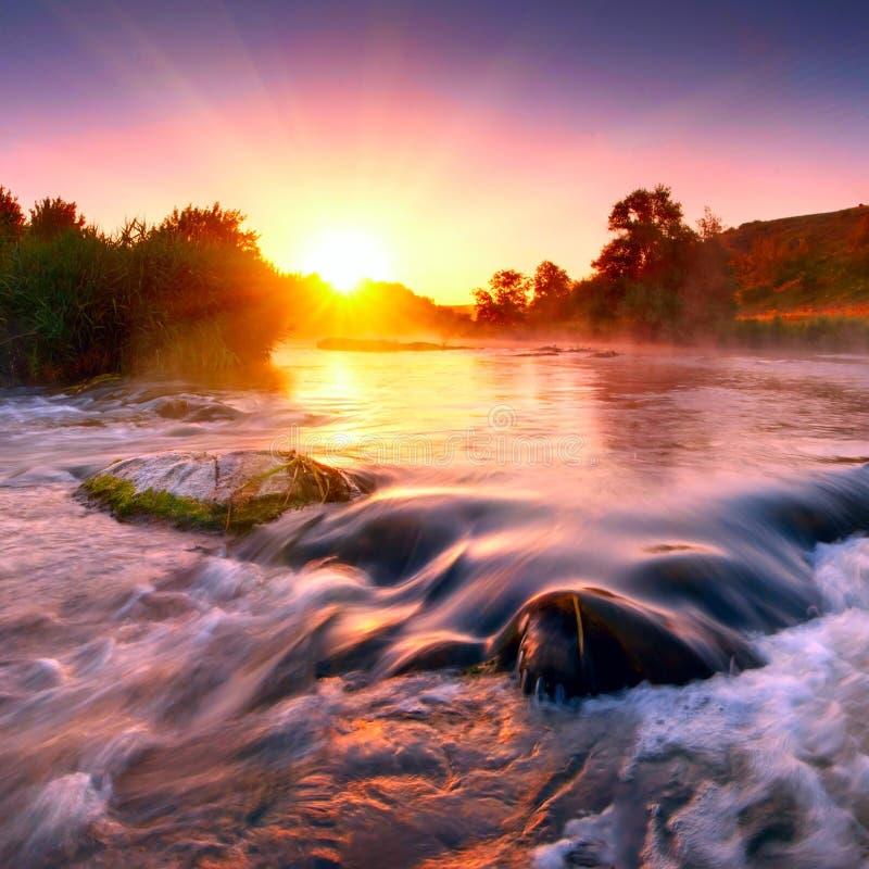 Nevelige ochtend op een rivier royalty-vrije stock foto