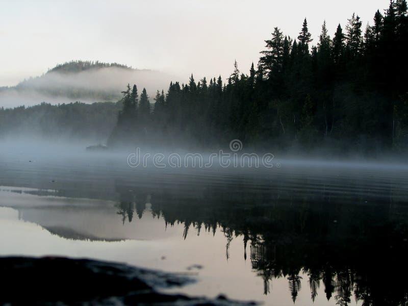 Nevelige Oever van het meer stock afbeelding