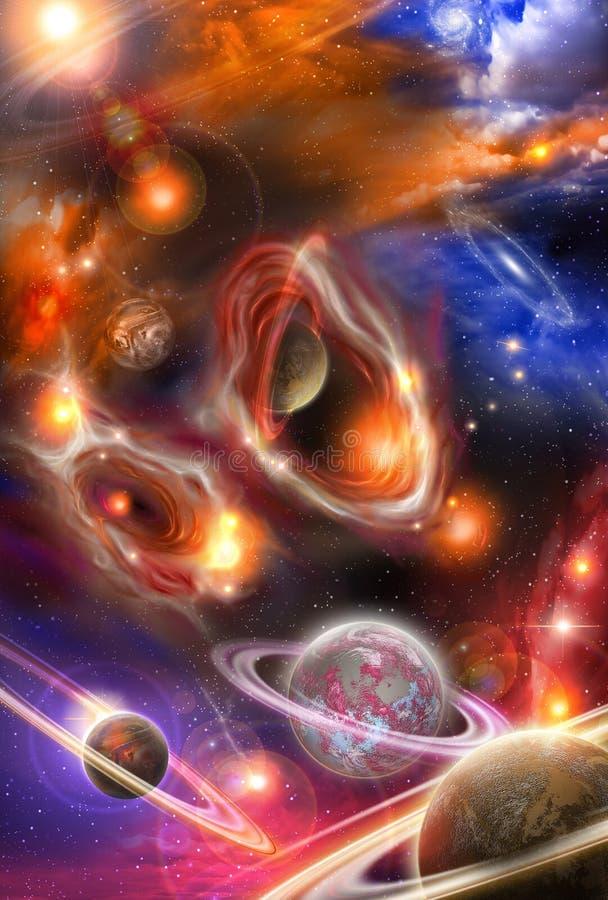 Nevels en planeten in ruimte stock illustratie