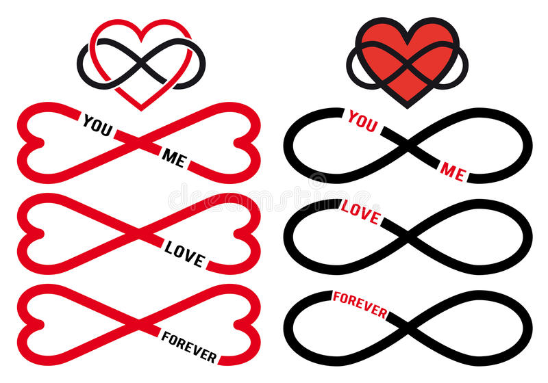 Never ending love, red infinity hearts, vector set royalty free illustration