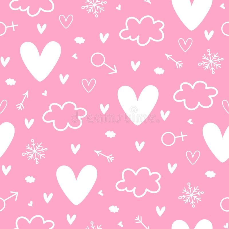 Never-ending seamless pattern with hearts, clouds, arrows, venus, mars and snowflakes. Happy St. Valentines background stock images