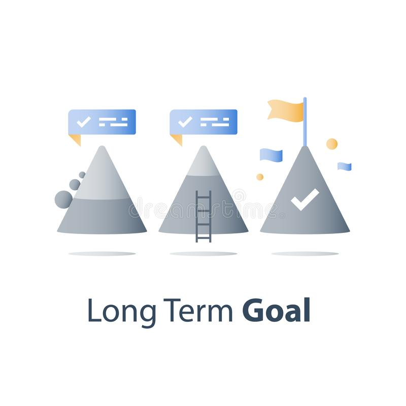 Mountain top, never give up concept, reach higher goal, next level, way to success, growth mindset, overcome obstacle. Never give up concept, mountain top, reach vector illustration