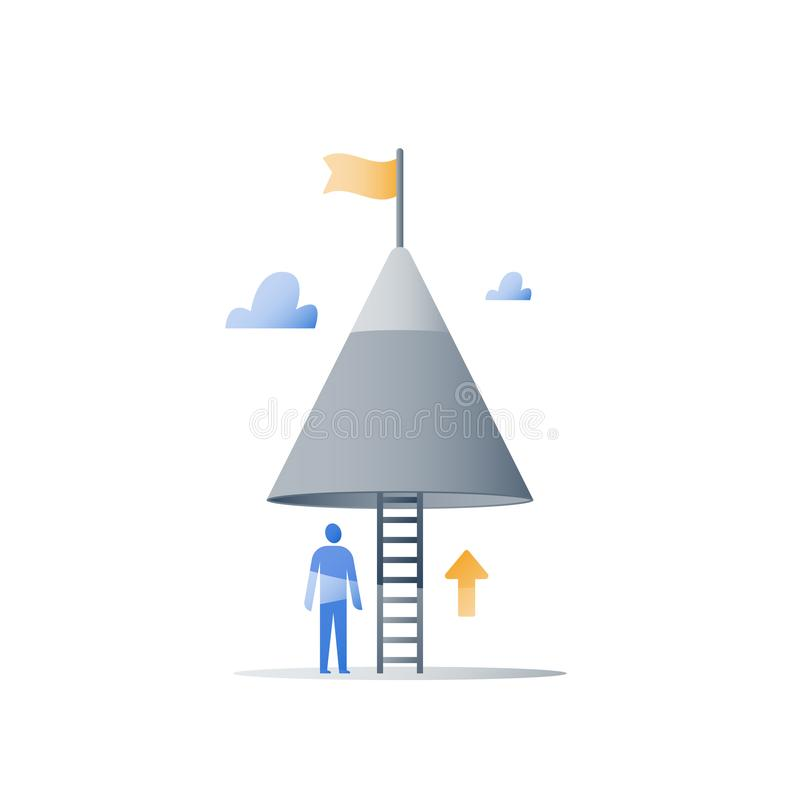 Mountain top, never give up concept, reach higher goal, next level, way to success, growth mindset, overcome obstacle. Never give up concept, mountain top, reach stock illustration