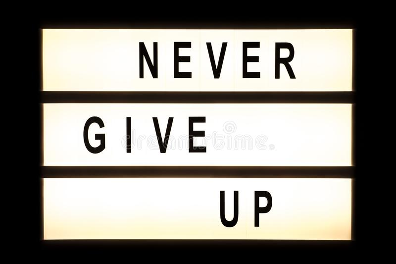 Never give up hanging light box stock image