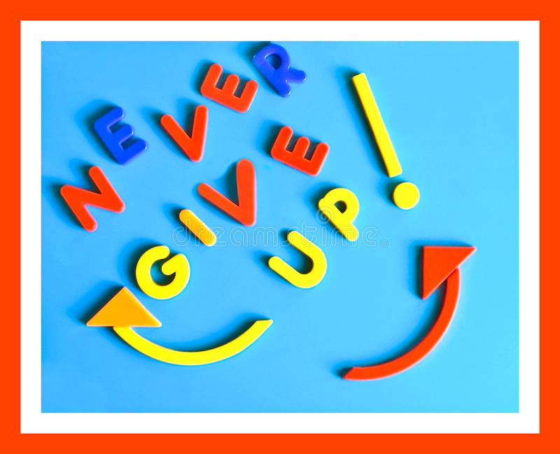 Never Give Up Sign Concept stock photography