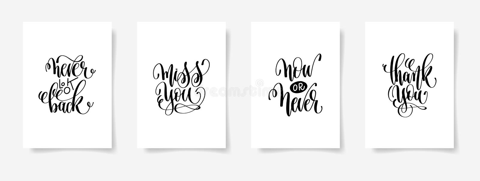 Never look back, miss you, now or never, thank you vector illustration