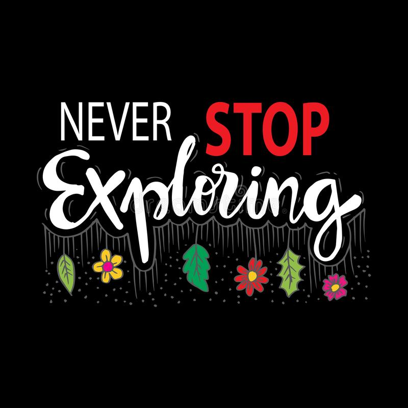 Never stop exploring. Motivational quote vector illustration