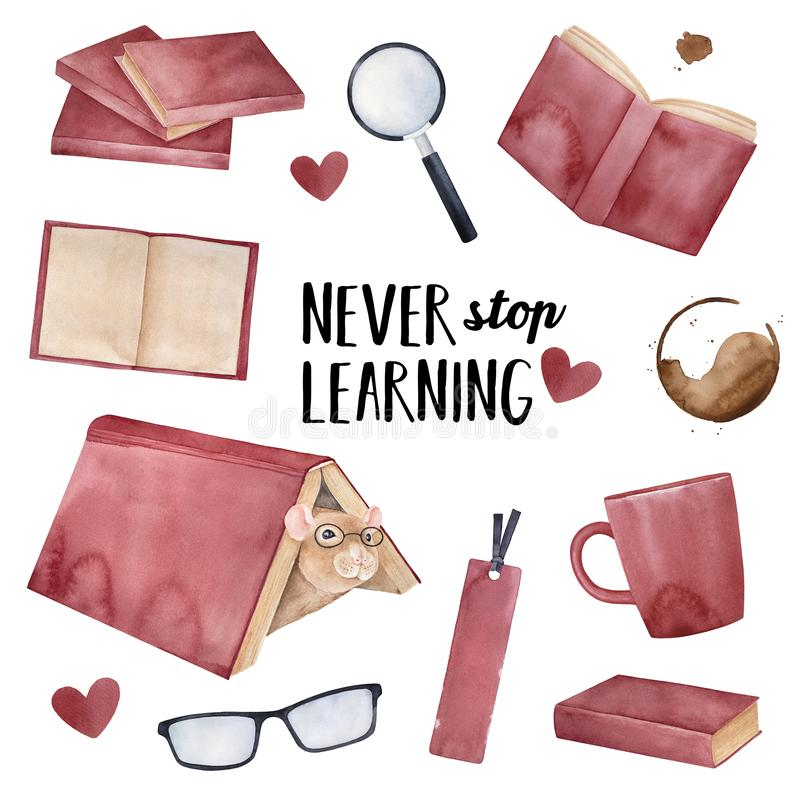 `Never Stop Learning` greeting card design with little positive pet mouse wearing eye glasses and various fun education elements. royalty free illustration