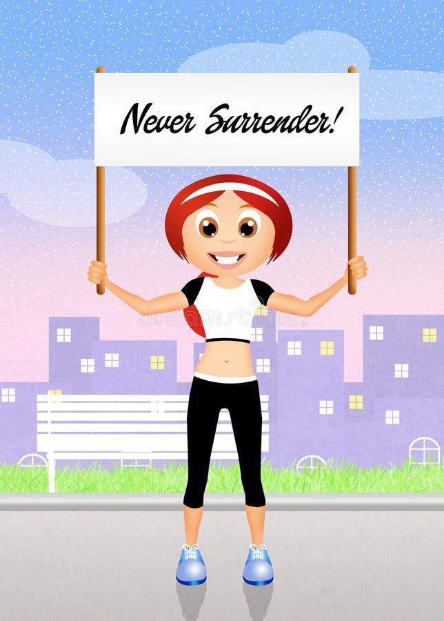 Never surrender. Illustration of girl with sign never surrender stock illustration
