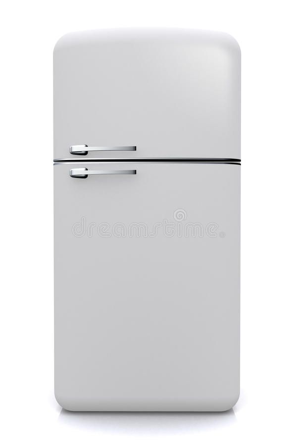 Nevera Fridge Vista Frontal. Cooking appliance , refrigerator , front view, white vintage style royalty free stock images