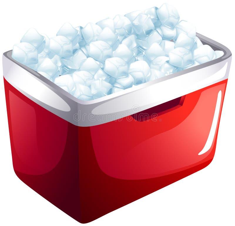 Nevera roja por completo del hielo ilustración del vector