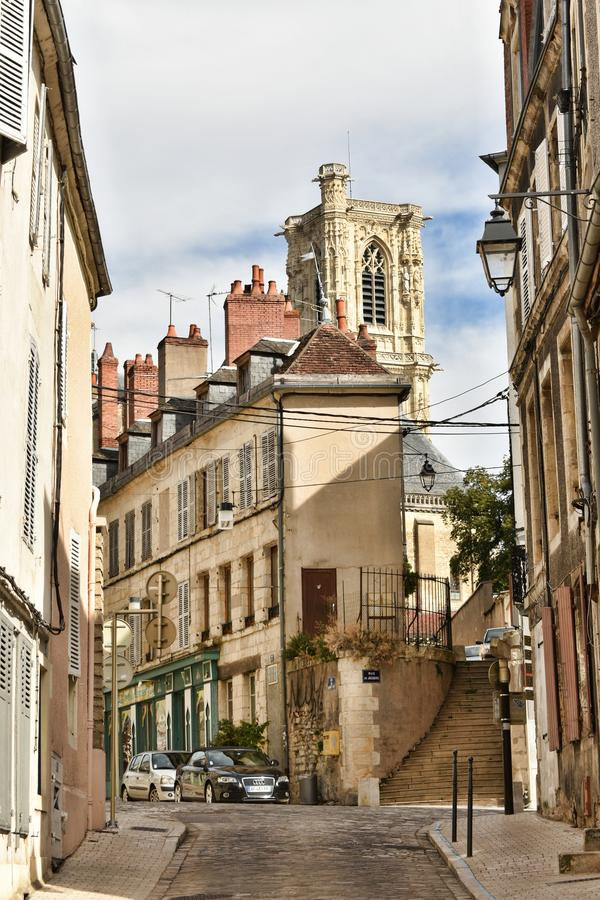 Streets of Nevers - NEVERS - France. Nevers first enters written history as Noviodunum, a town held by the Aedui at Roman contact. The quantities of medals and stock images