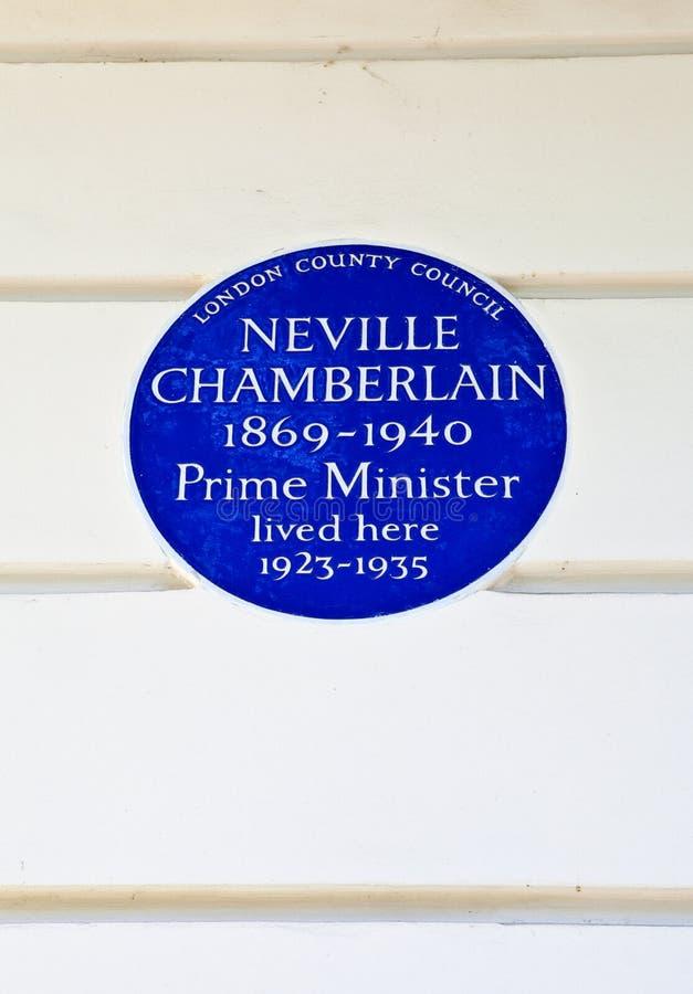 Neville Chamberlain Plaque em Londres fotos de stock