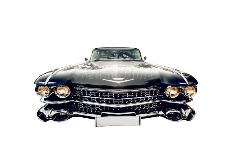 Nevinnomyssk, Russie - 20 ao?t 2016 : Photo en gros plan de r?tro voiture Cadillac de cru noir d'isolement sur le fond blanc photo stock