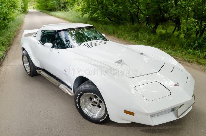 NEVINOMYSSC, РОССИЯ - 13-ОЕ МАЯ 2016: Автомобили Внеофисная фотография старых американских автомобилей Chevrolet Corvette C3 1978 стоковые фото