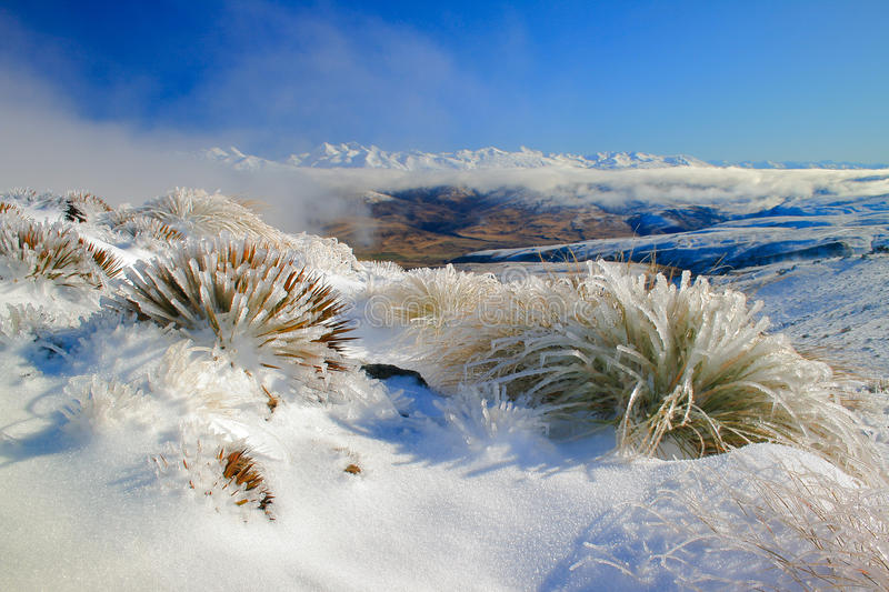 Nevis pass in winter stock images