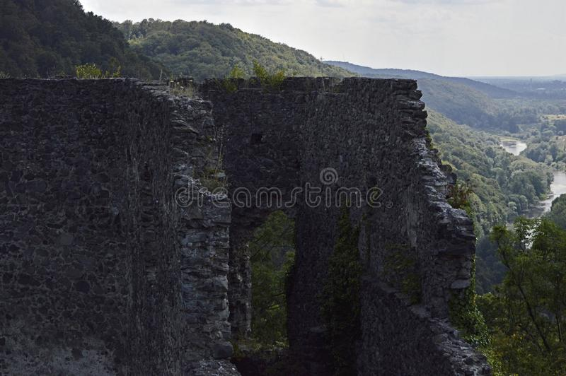 Nevitsky castle ruins flaunt on a high hill with an impressive view from above on a tree in Transcarpathia, Ukraine... royalty free stock photography