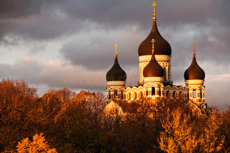 Nevsky Cathedral, Tallinn. Alexander Nevsky Cathedral in Tallinn, Estonia on a stormy evening royalty free stock photos