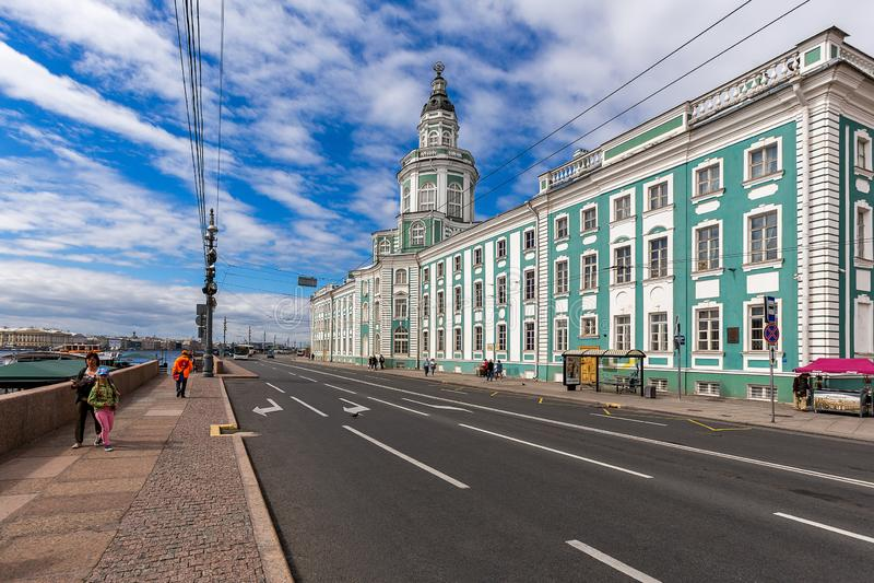 Nevsky krajobraz z Kunstkamera fotografia stock