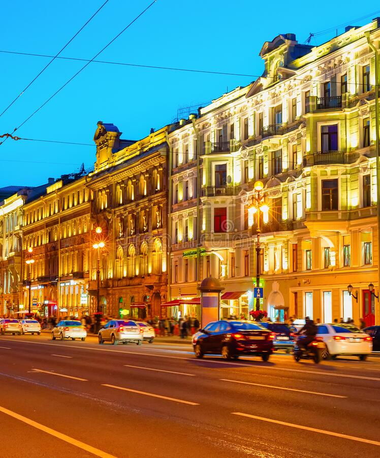 Nevsky night cityscape, Saint Petersburg royalty free stock photography