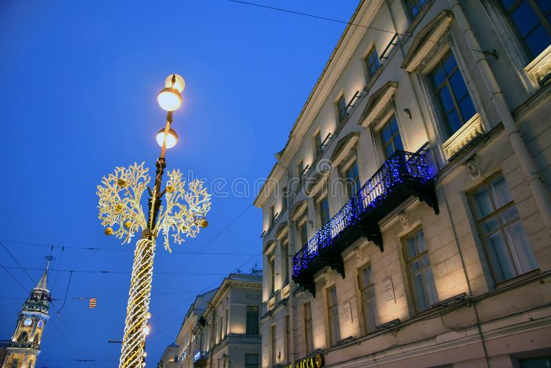Nevsky prospect in Saint-Petersburg decorated for Christmas. Saint Petersburg, Russia. Christmas and New Year 2019 decorations on the Nevsky prospect in Saint royalty free stock photography