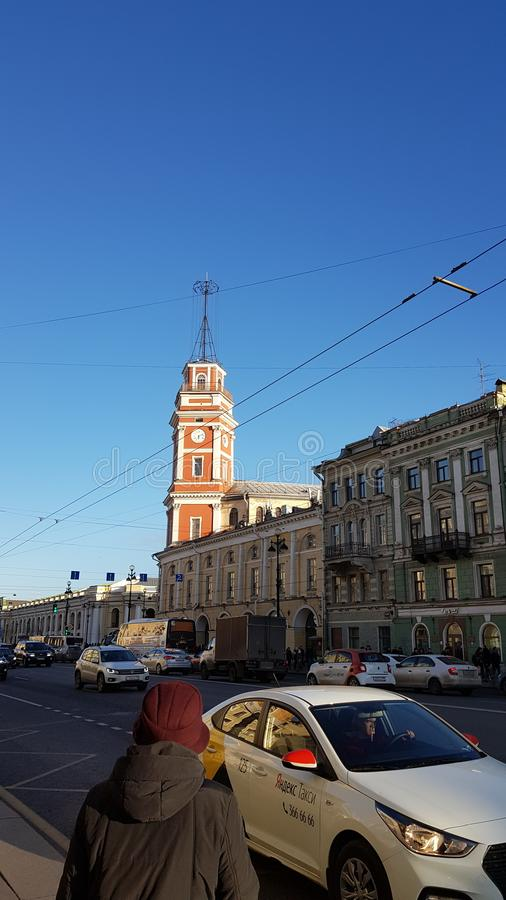 Nevsky prospect in Saint Petersburg. Nevsky prospect saint petersburg europe spb travel russia tower royalty free stock photo