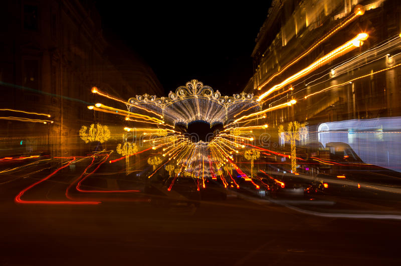 Nevsky prospect in Saint Petersburg. Nevsky prospect in the New Year`s Eve in the evening light, Saint-Petersburg, Russia royalty free stock photos