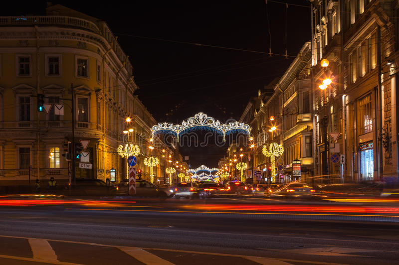 Nevsky prospect. SAINT- PETERSBURG, RUSSIA - DECEMBER 27, 2015: Nevsky prospect in the New Year`s Eve in the evening light, Saint-Petersburg, Russia stock image