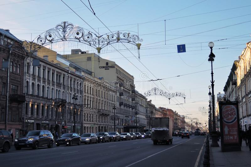 Nevsky prospect in Saint-Petersburg, Russia. SAINT –PETERSBURG, RUSSIA – JANUARY 16, 2018: View of Nevsky prospect, popular touristic street in stock image