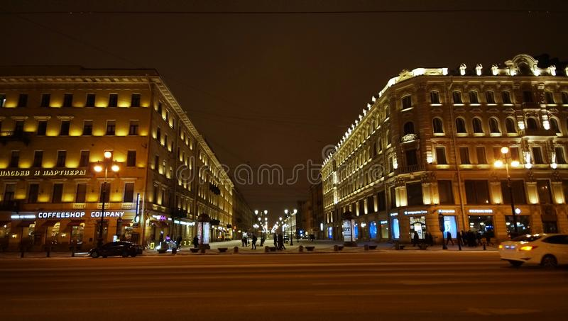 Nevsky Prospect in Saint Petersburg. Nevsky Prospect in winter evening in St. Petersburg, view of Malaya Konyushennaya street royalty free stock photo