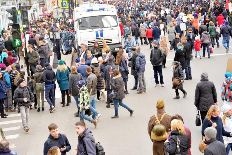Nevsky Prospekt in vakantie Victory Day stock foto's