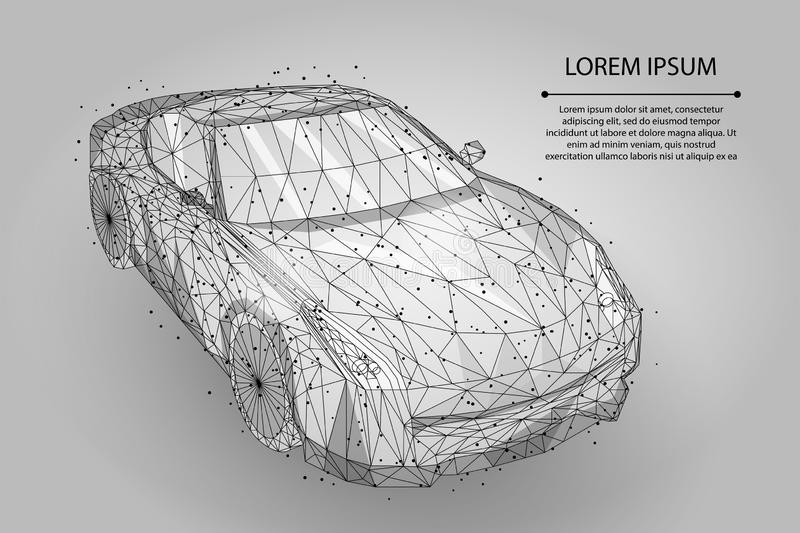 Abstract mash line and point high speed motion car. Polygonal low poly fast drive, vehicle road travel concept vector illustration
