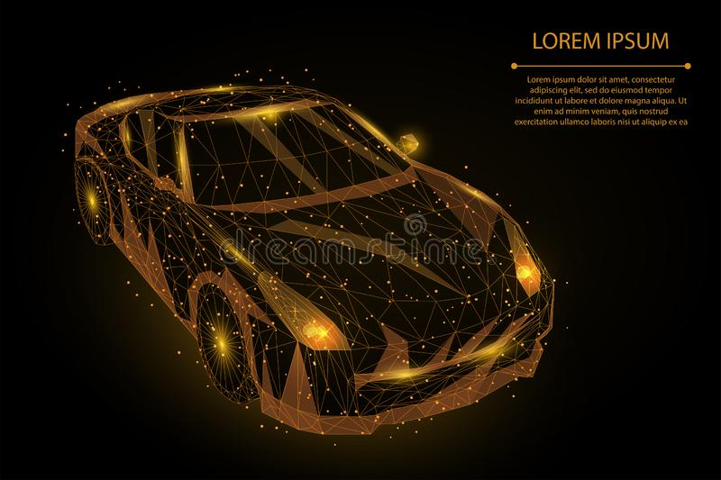 Abstract mash line and point high speed motion car. Polygonal low poly fast drive, vehicle roa stock illustration