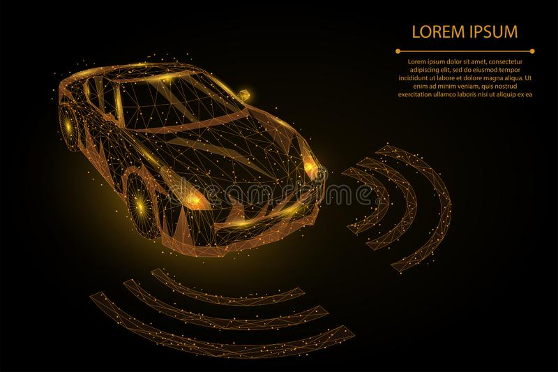 Abstract mash line and point high speed motion car. autopilot driver automation concept vector illustration