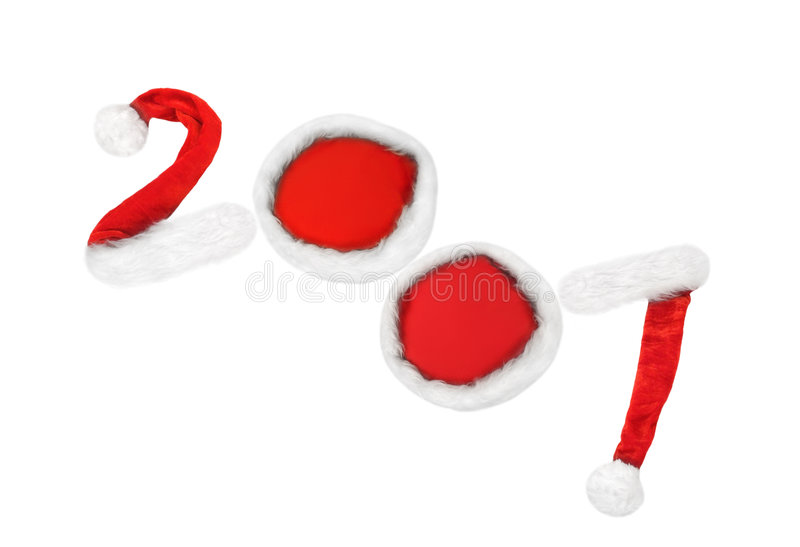 New 2007 year. 2007 date made of red-white Santa's hats stock image