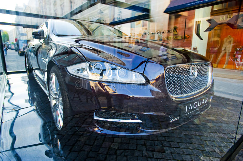New 2010 Jaguar XJ presentation in Moscow stock photography