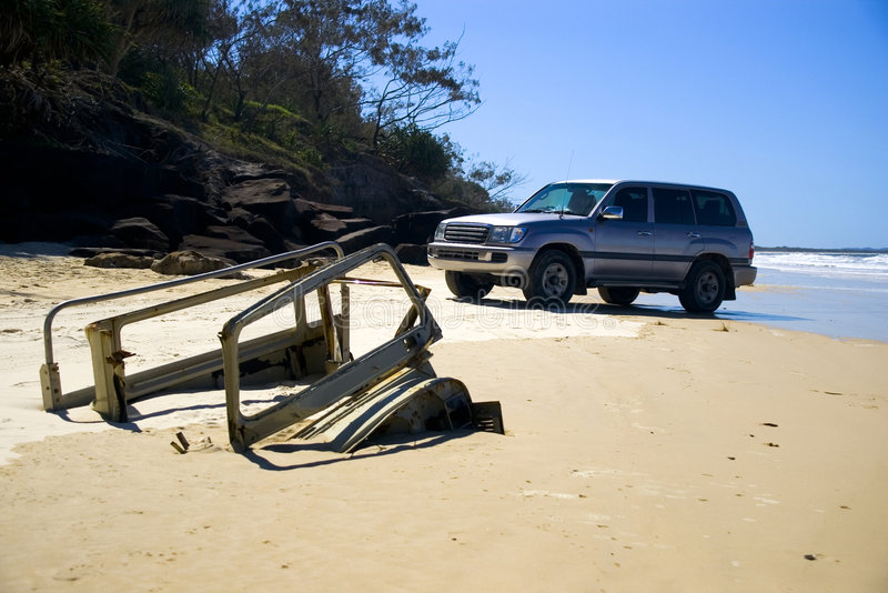 new 4wd and buried truck fraser island stock photo. Black Bedroom Furniture Sets. Home Design Ideas